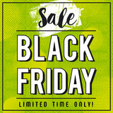 Black friday sale banner on green patterned background, vector Stock Photos