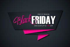 Black Friday Sale banner with handwritten element. End of season, discount up to 75% off. Stock Image