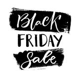 Black friday sale banner with handwritten text on grunge black ink stains. Vector label. Stock Image