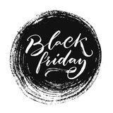 Black friday sale banner with handwritten text on grunge ink round stain. Vector clearance banner. Stock Image