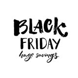 Black friday sale banner with handwritten text huge savings. Grunge typography. Vector clearance banner. Stock Images