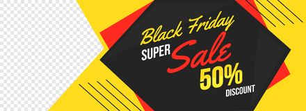 Black Friday sale banner or header design with 50% discount offe. R and space for your product image royalty free illustration