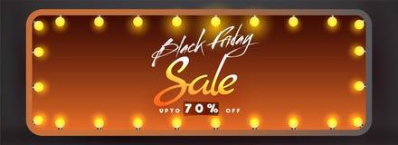 Black Friday Sale banner or header design with upto 70% discount. Offer in glossy lighting frame stock illustration