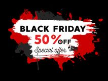 Black friday sale illustration with paint splatters Royalty Free Stock Photos