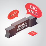 Black friday sale banner. Isometric vector illustration. Black friday sale banner. Black realistic 3d ribbon. Isometric vector illustration Royalty Free Stock Image