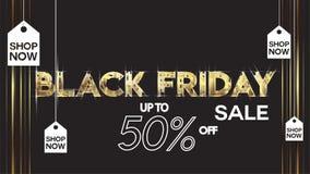 Black friday sale banner layout design background black and gold 50% discount offer. For art template design, brochure style, bann. Er, idea, cover, print, flyer stock illustration