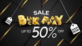 Black friday sale banner layout design background black and gold 50% discount offer. For art template design, brochure style, bann. Er, idea, cover, print, flyer royalty free illustration