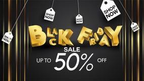 Black friday sale banner layout design background black and gold 50% discount offer. For art template design, brochure style, bann. Er, idea, cover, print, flyer vector illustration