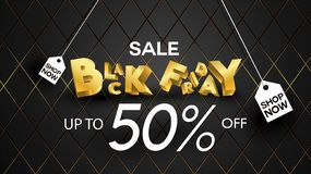 Black friday sale banner layout design background black and gold 50% discount offer. For art template design, brochure style, bann. Er, idea, cover, print, flyer royalty free illustration