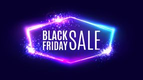 Black friday sale banner on neon background. royalty free stock photo