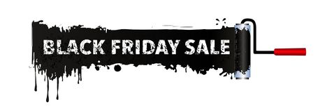 Black Friday Sale Banner with paint roller and black colour,  Banner background, black texture painting,. Vector illustration isolated on white background Stock Image