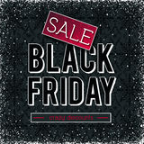 Black friday sale banner on patterned background, vector Stock Photos