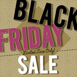 Black friday sale banner on patterned background, vector Stock Images
