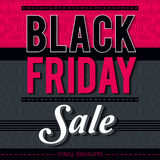 Black friday sale banner on patterned background, vector Stock Photo