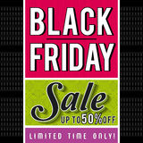 Black friday sale banner on patterned background, vector Royalty Free Stock Images