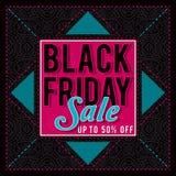 Black friday sale banner on patterned background, vector Stock Image
