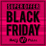 Black friday sale banner on patterned pink  background, vector Stock Photos