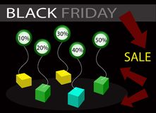 Black Friday Sale Banner with Percentages Discount. Percentages Discount in Black Friday Sale Shopping Banner, Sign for Start Christmas Shopping Season Stock Photography