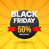 Black Friday sale banner or poster design with 50% discount offe. R on yellow rays background royalty free illustration
