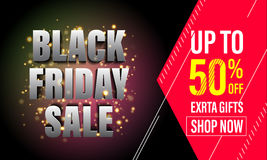 Black Friday Sale banner, poster, discount card. Black Friday Sale banner. Vector online shop promo gold glitter poster. Black Friday discount 50 percent, price stock illustration