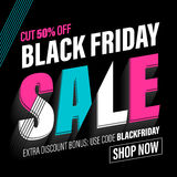 Black Friday Sale banner, poster, discount card. Black Friday Sale banner. Vector online shop promo poster. Black Friday discount 50 percent, price cut off promo stock illustration