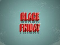 Black Friday sale banner or poster vector with retro vintage grunge worn creative extruded letters with bezels. Sale. Promotion, special offers and discounts stock illustration