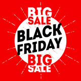 Black friday sale banner on red background. Discount card Vector Stock Image