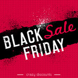 Black friday sale banner on red knitwear background, vector Stock Photography