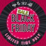Black friday sale banner on red patterned background, vector Royalty Free Stock Photos