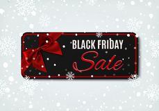 Black Friday sale banner with red ribbon and bow. Stock Images
