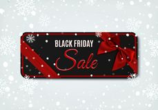 Black Friday sale banner with red ribbon and bow. Royalty Free Stock Photos