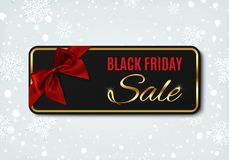 Black Friday sale banner with red ribbon and bow. Stock Photography