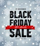 Black friday sale banner with red ribbon.Winter snowy poster.Online shopping. Trendy sale banner. Discount 35 sitewide. Advertising banner. Illutsration for Royalty Free Stock Photography