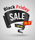 Black friday sale banner ribbon style. Stock Image