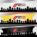 Black friday sale banner. Set banners. Black friday sale banner. Big discounts Day. Vector illustration Stock Image