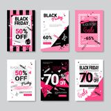 Black Friday Sale Banner Set Pink Posters Collection Grunge Design. Shopping Discount Concept Vector Illustration stock illustration