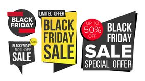 Black Friday Sale Banner Set Vector. Discount Tag, Special Friday Offer Banners. Discount And Promotion. Half Price. Black Friday Sale Banner Set Vector. Website Stock Image