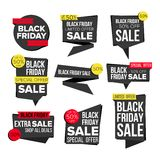 Black Friday Sale Banner Set Vector. Website Stickers, Black Web Page Design. Up To 50 Percent Off Friday Badges. Black Friday Sale Banner Set Vector. Discount Stock Photo