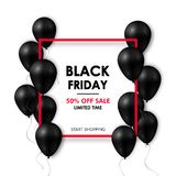 Black friday Sale banner. Shiny black balloons on white background with red frame.