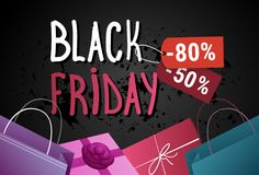 Black Friday Sale Banner With Shopping Bags And Present Boxes On Grunge Background Holiday Discount Poster Concept Stock Photo