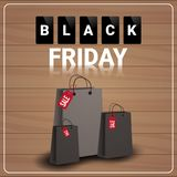 Black Friday Sale Banner With Shopping Bags On Wooden Textured Background Big Discount Poster Design Stock Images