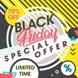 Black friday sale banner. Special offer with geometric elements in memphis style. Sale template perfect for prints, flyers,banners, promotion,special offer,ads Stock Photos