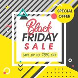 Black friday sale banner. Special offer with geometric elements in memphis style. Sale template perfect for prints, flyers,banners, promotion,special offer,ads Stock Photo