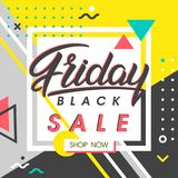 Black friday sale banner. Special offer with geometric elements in memphis style. Sale template perfect for prints, flyers,banners, promotion,special offer,ads Stock Image