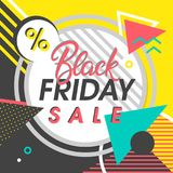 Black friday sale banner. Special offer with geometric elements in memphis style. Sale template perfect for prints, flyers,banners, promotion,special offer,ads Royalty Free Stock Photo