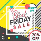 Black friday sale banner. Special offer with geometric elements in memphis style. Sale template perfect for prints, flyers,banners, promotion,special offer,ads Royalty Free Stock Images