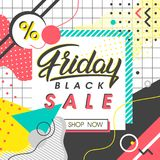 Black friday sale banner. Special offer with geometric elements and shapes in memphis style. Sale template perfect for prints; flyers; banners; promotion Royalty Free Stock Photos