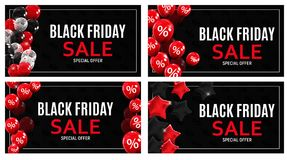 Black Friday Sale Banner Template Collection Set. Vector Illustration Stock Images