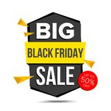 Black Friday Sale Banner Vector. Discount Up To 50 Off. Discount Tag, Special Friday Offer Banner. Isolated On White. Black Friday Sale Banner Vector. Up To 50 Stock Photography