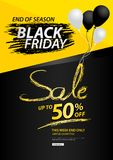 Black friday sale banner vector illustration. Black friday sale banner, Discount, promotion poster, advertisement, marketing, tags, sticker, flyer for business Stock Image